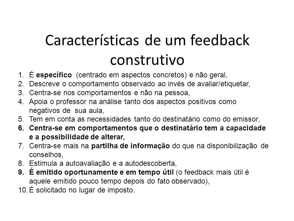 Características de um feedback construtivo