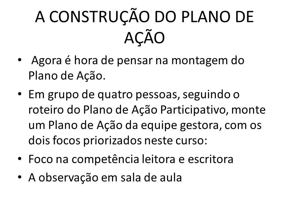 A CONSTRUÇÃO DO PLANO DE AÇÃO