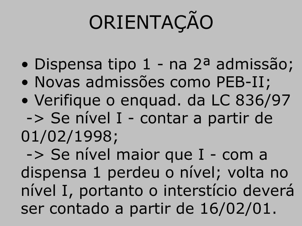 ORIENTAÇÃO Dispensa tipo 1 - na 2ª admissão;