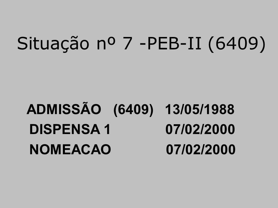 Situação nº 7 -PEB-II (6409) DISPENSA 1 07/02/2000 NOMEACAO 07/02/2000