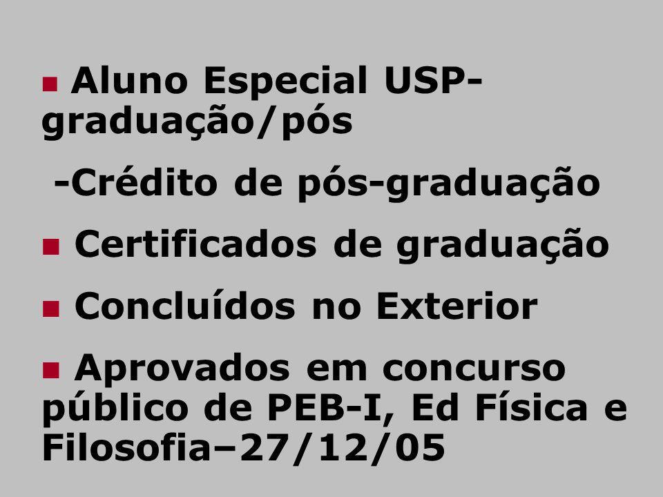 -Crédito de pós-graduação Certificados de graduação