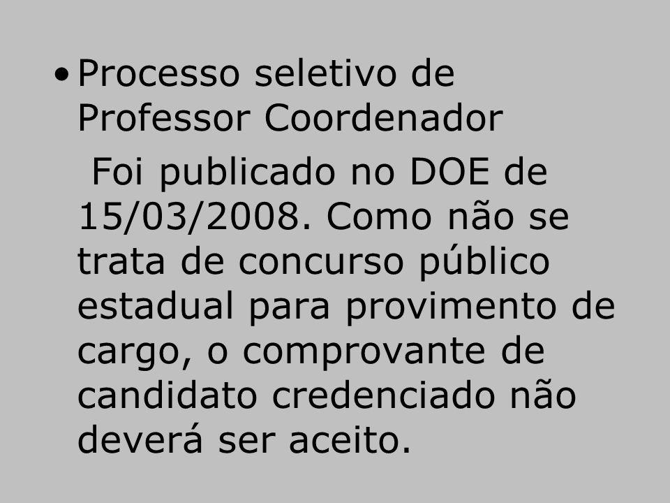 Processo seletivo de Professor Coordenador
