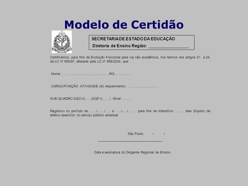 Modelo de Certidão SECRETARIA DE ESTADO DA EDUCAÇÃO