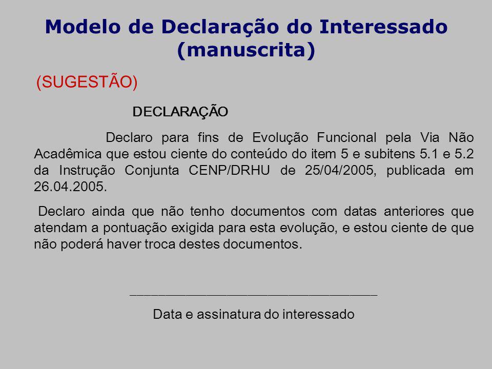 Modelo de Declaração do Interessado (manuscrita)