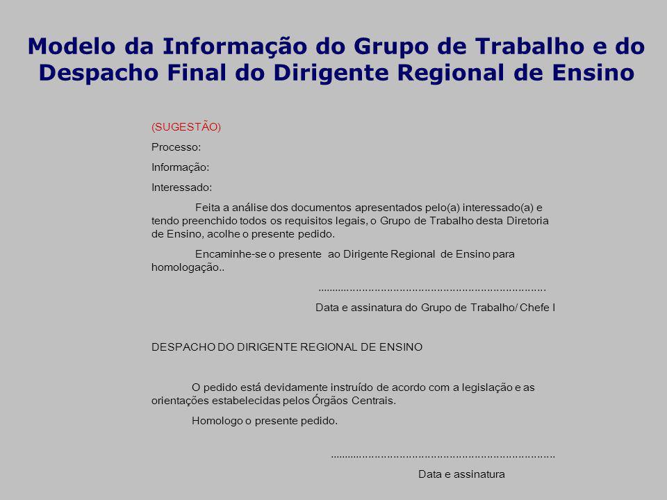 Modelo da Informação do Grupo de Trabalho e do Despacho Final do Dirigente Regional de Ensino