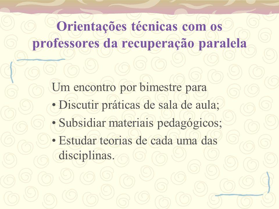 Orientações técnicas com os professores da recuperação paralela
