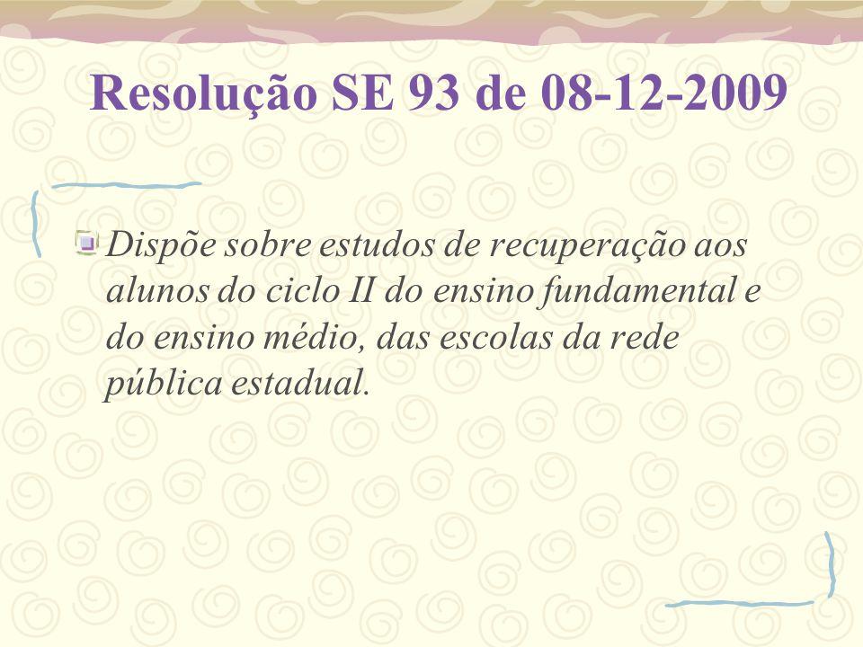 Resolução SE 93 de 08-12-2009