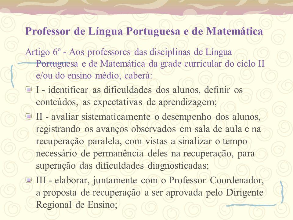Professor de Língua Portuguesa e de Matemática
