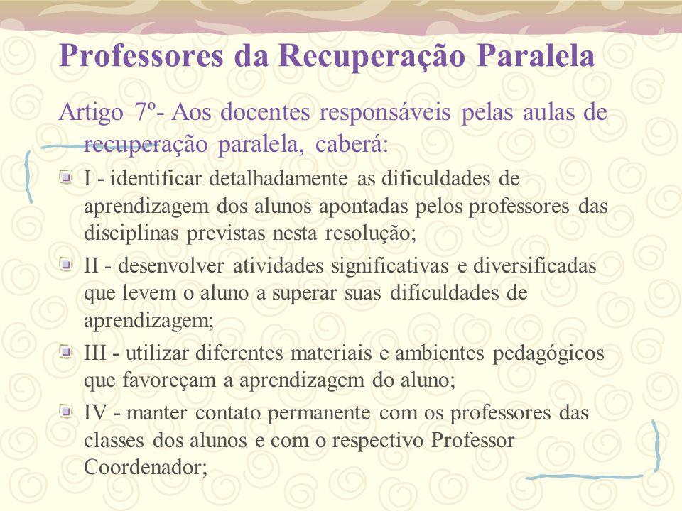 Professores da Recuperação Paralela