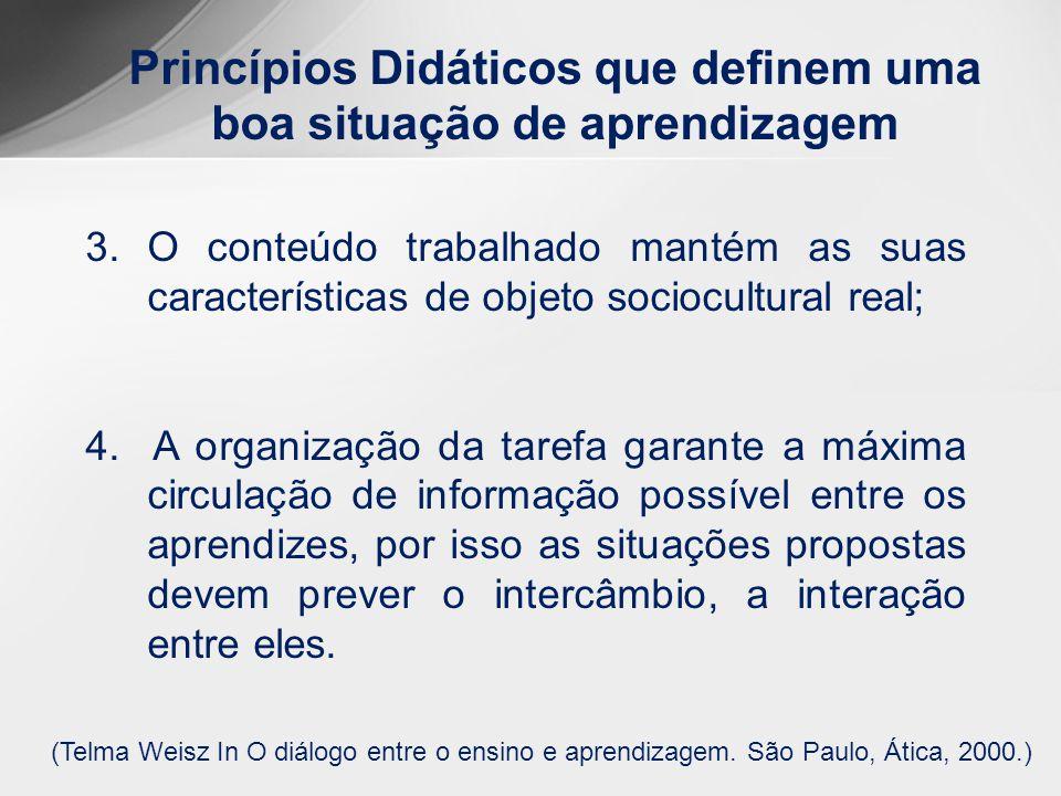 Princípios Didáticos que definem uma boa situação de aprendizagem