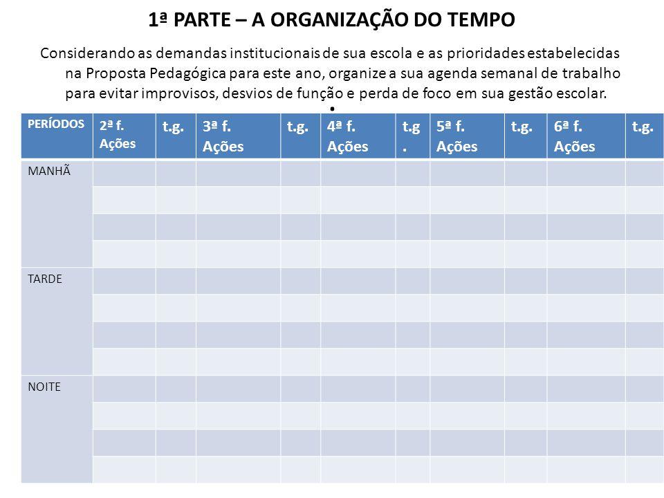 1ª PARTE – A ORGANIZAÇÃO DO TEMPO .