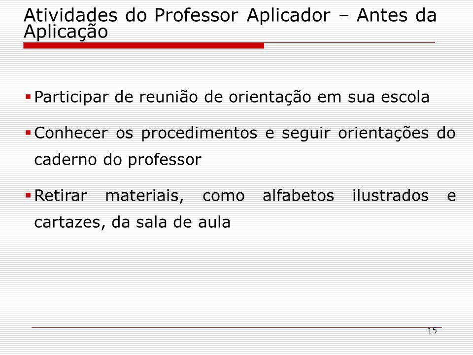 Atividades do Professor Aplicador – Antes da Aplicação