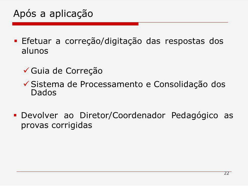 Após a aplicação Efetuar a correção/digitação das respostas dos alunos