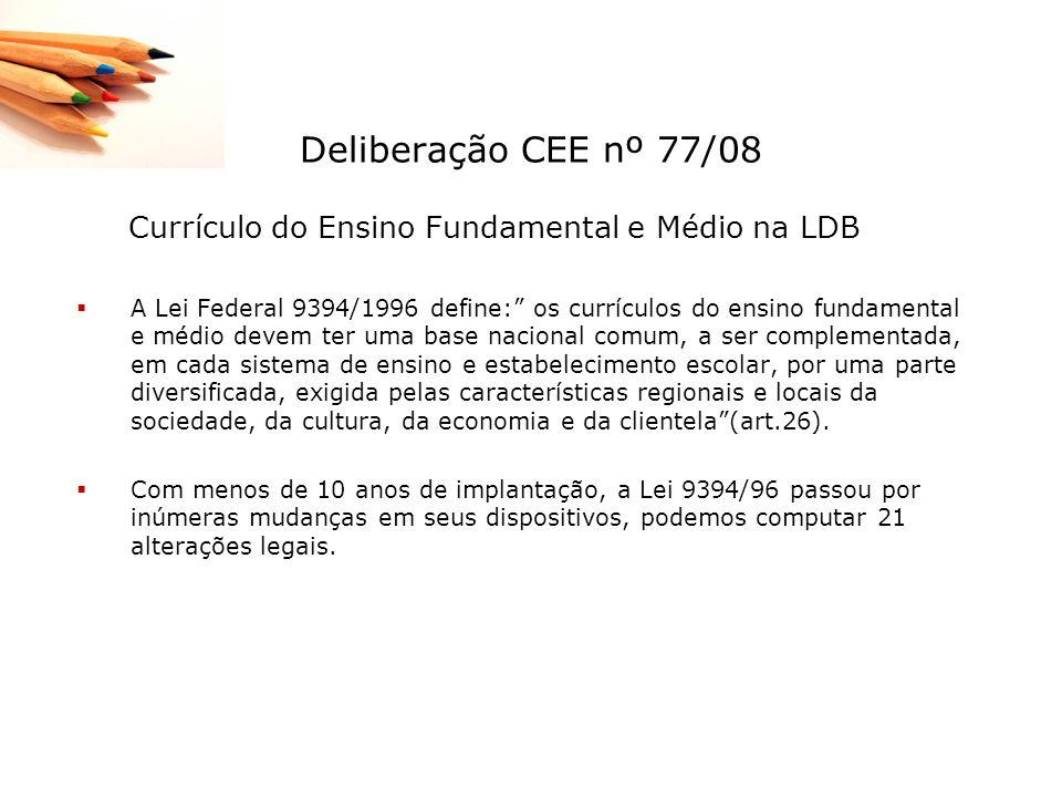 Deliberação CEE nº 77/08 Currículo do Ensino Fundamental e Médio na LDB.