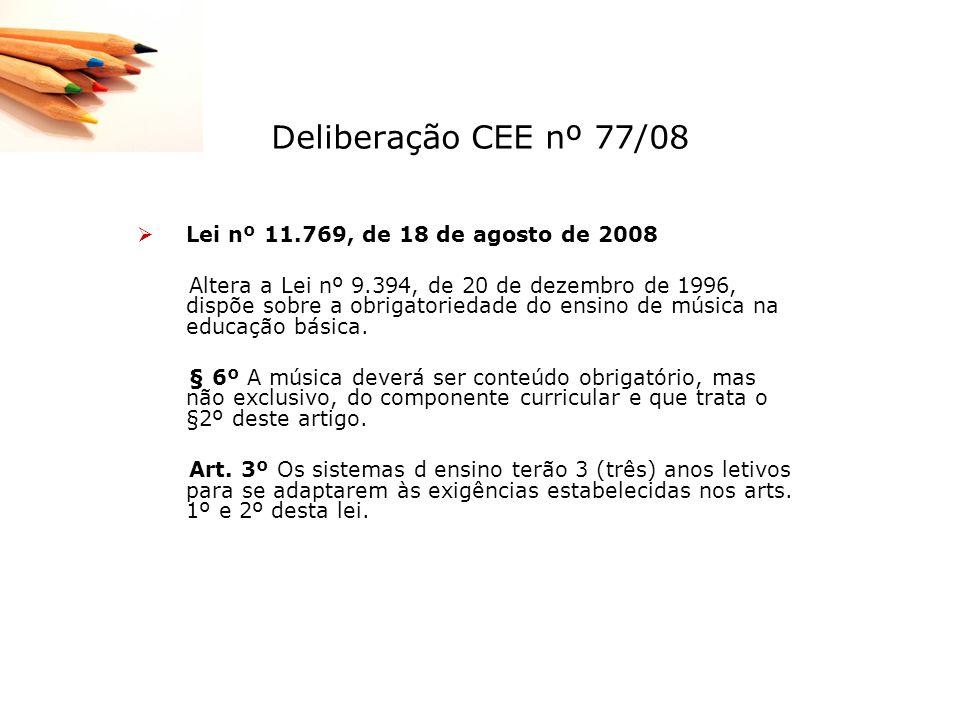 Deliberação CEE nº 77/08 Lei nº 11.769, de 18 de agosto de 2008