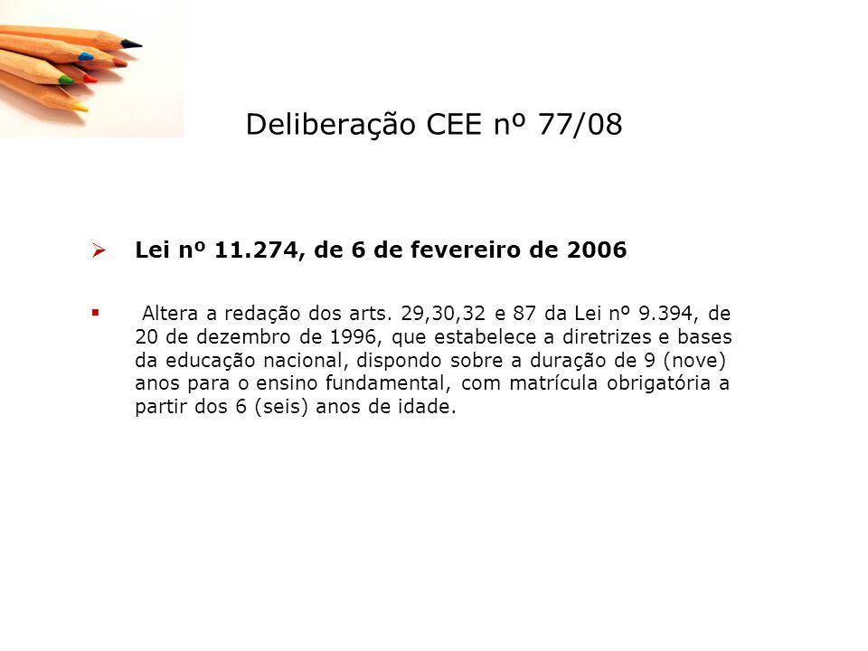 Deliberação CEE nº 77/08 Lei nº 11.274, de 6 de fevereiro de 2006