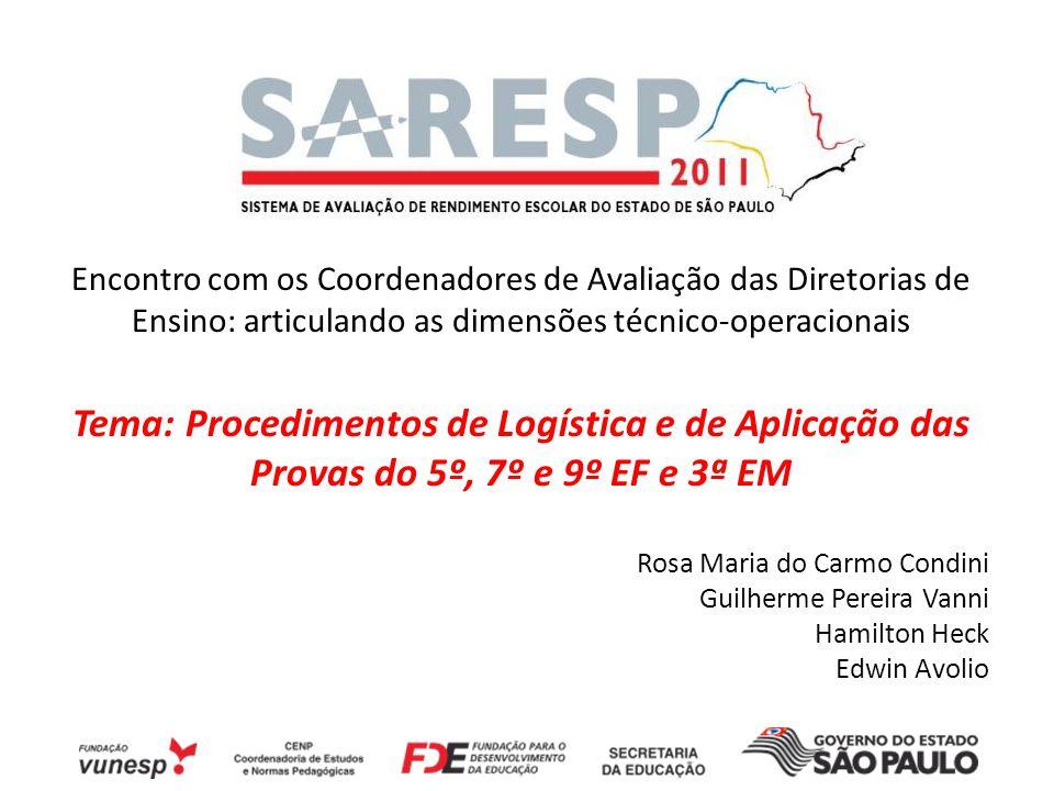 Tema: Procedimentos de Logística e de Aplicação das
