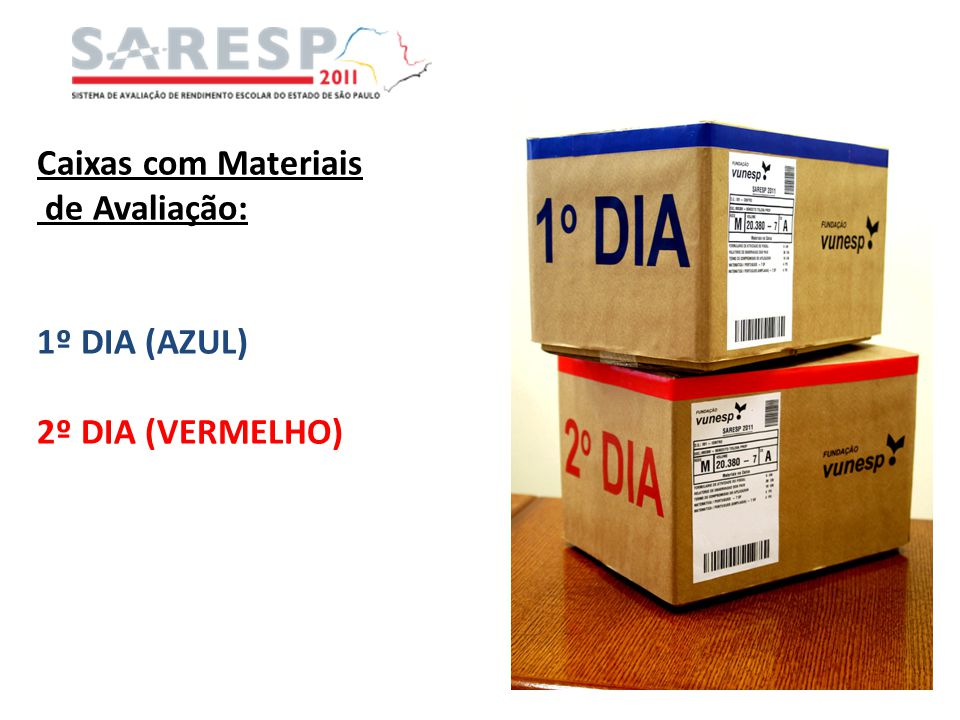 Caixas com Materiais de Avaliação: 1º DIA (AZUL) 2º DIA (VERMELHO)