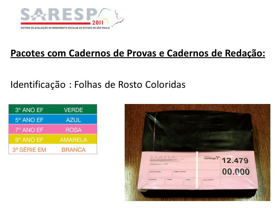 Pacotes com Cadernos de Provas e Cadernos de Redação: