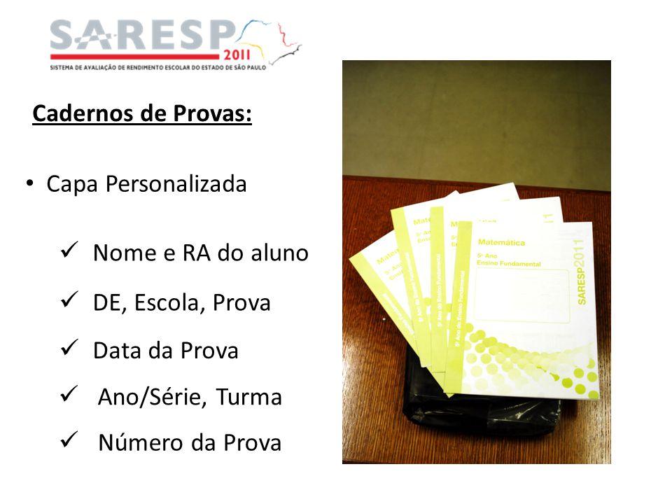 Cadernos de Provas: Capa Personalizada. Nome e RA do aluno. DE, Escola, Prova. Data da Prova. Ano/Série, Turma.