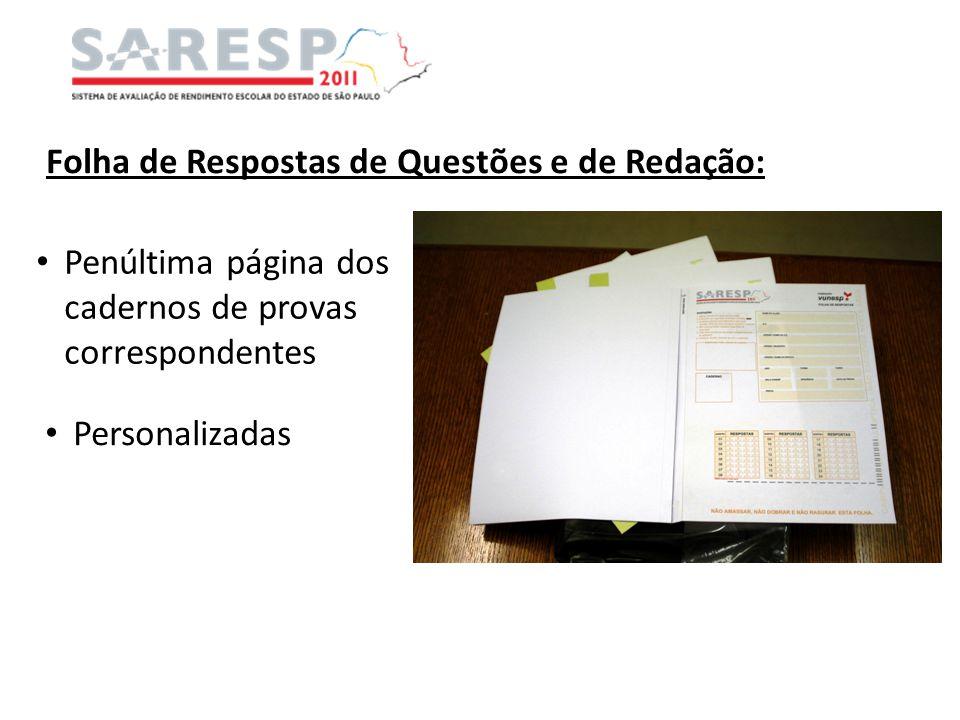 Folha de Respostas de Questões e de Redação:
