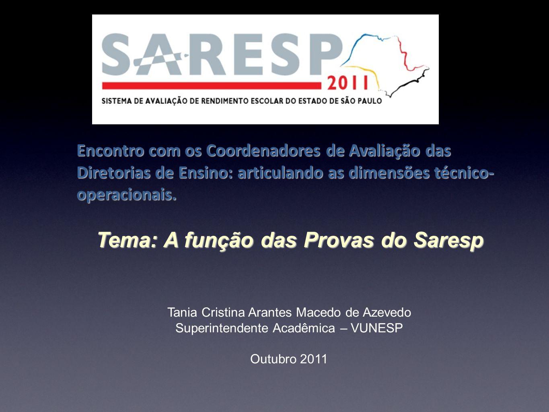 Tema: A função das Provas do Saresp