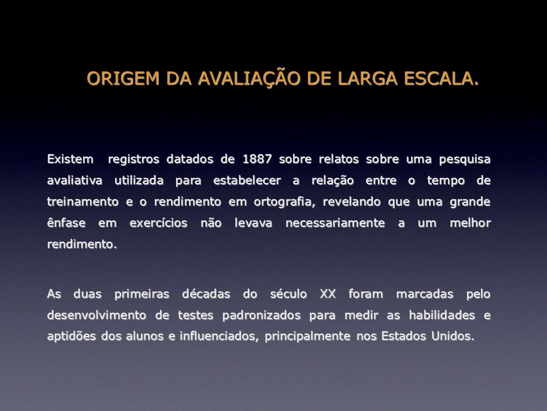 ORIGEM DA AVALIAÇÃO DE LARGA ESCALA.