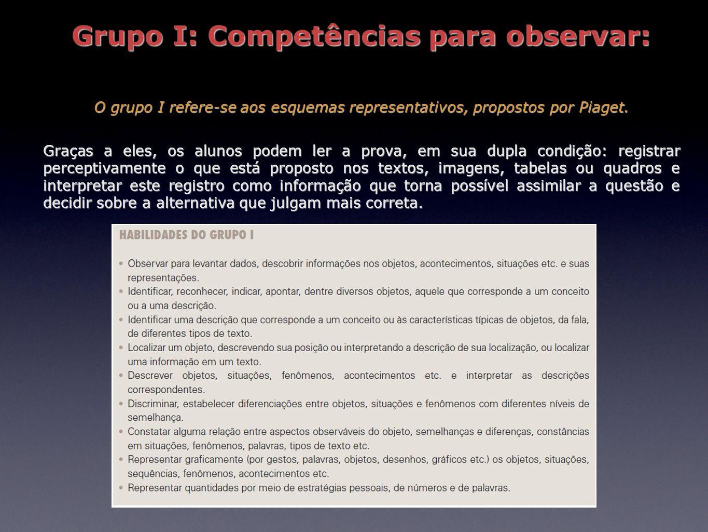 Grupo I: Competências para observar: