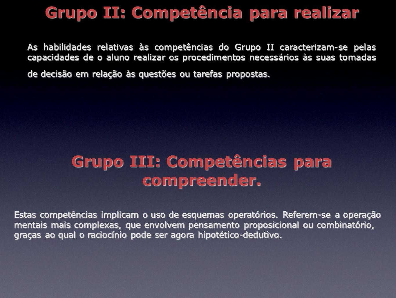 Grupo II: Competência para realizar