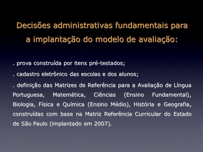 Decisões administrativas fundamentais para a implantação do modelo de avaliação: