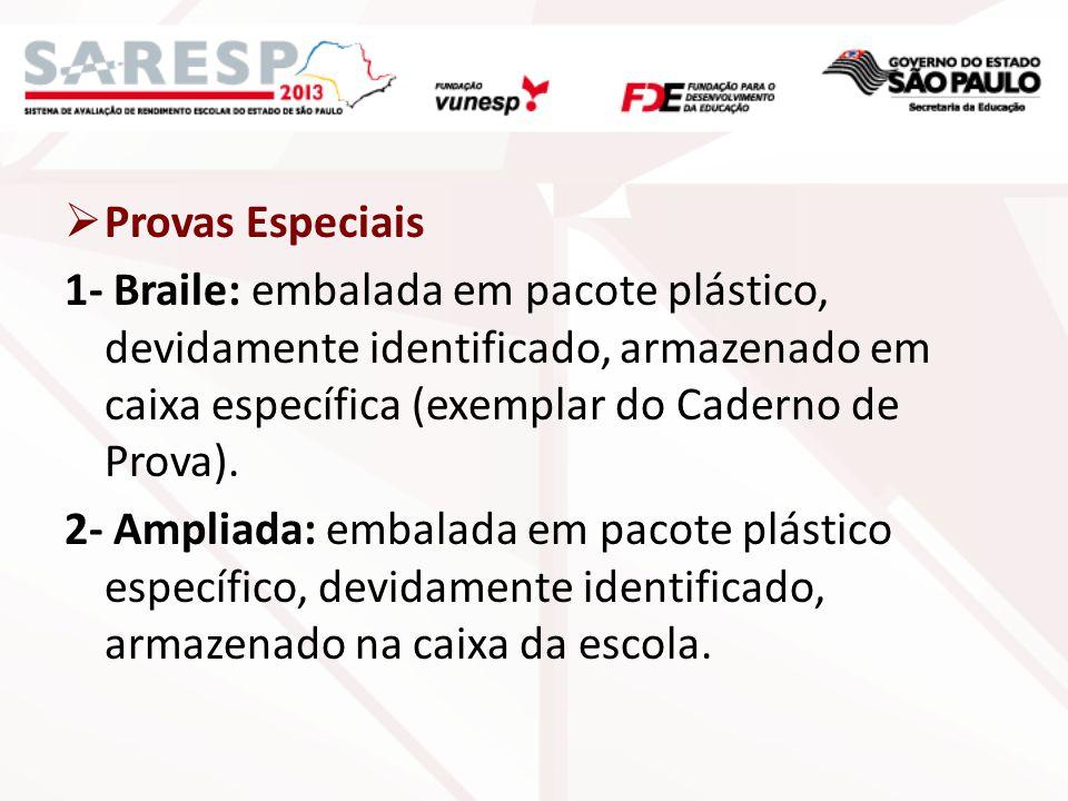 Provas Especiais 1- Braile: embalada em pacote plástico, devidamente identificado, armazenado em caixa específica (exemplar do Caderno de Prova).