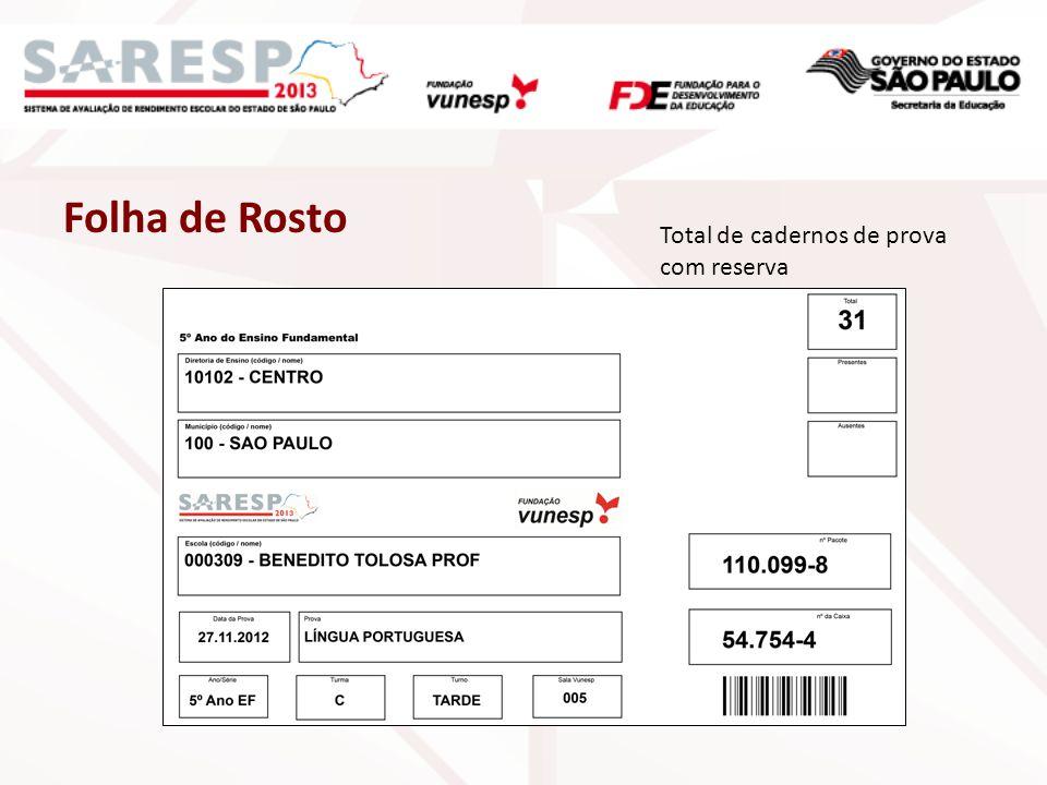 Folha de Rosto Total de cadernos de prova com reserva