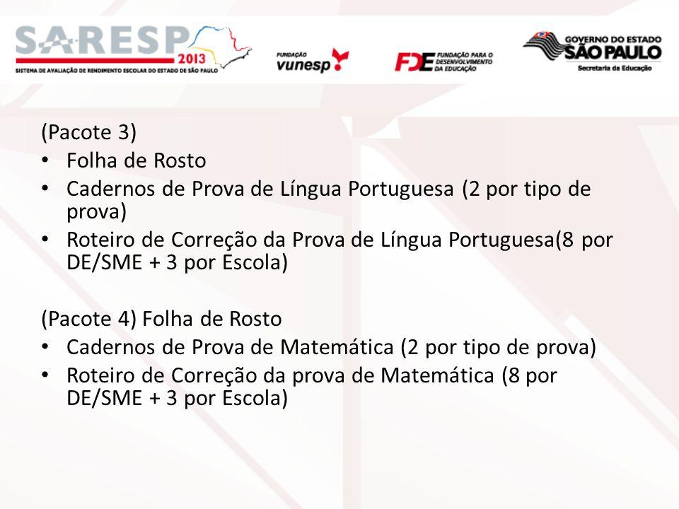 (Pacote 3) Folha de Rosto. Cadernos de Prova de Língua Portuguesa (2 por tipo de prova)
