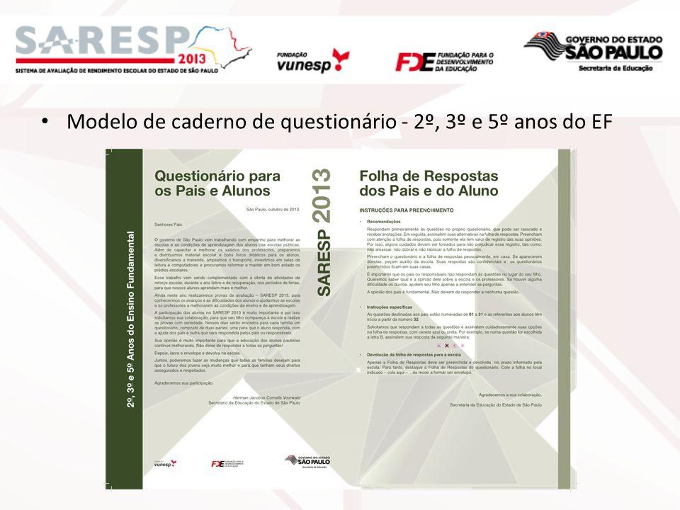Modelo de caderno de questionário - 2º, 3º e 5º anos do EF