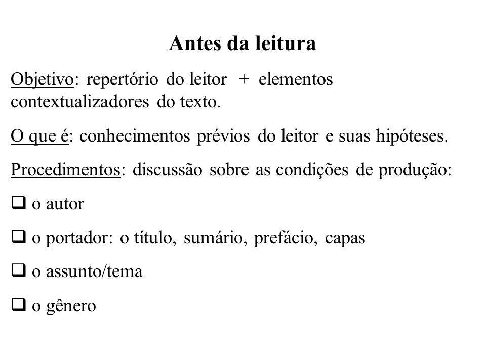 Antes da leitura Objetivo: repertório do leitor + elementos contextualizadores do texto.