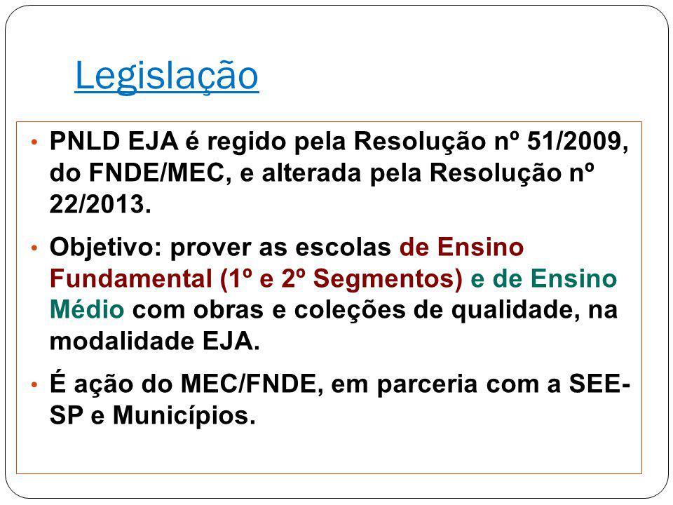 Legislação PNLD EJA é regido pela Resolução nº 51/2009, do FNDE/MEC, e alterada pela Resolução nº 22/2013.