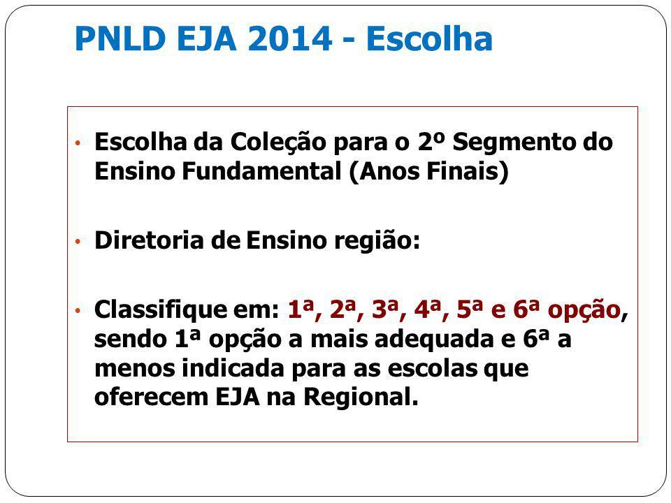 PNLD EJA 2014 - Escolha Escolha da Coleção para o 2º Segmento do Ensino Fundamental (Anos Finais) Diretoria de Ensino região: