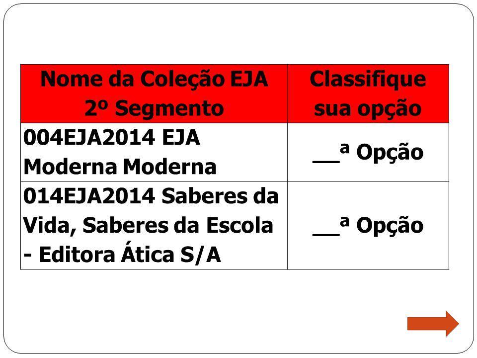 Nome da Coleção EJA 2º Segmento. Classifique sua opção. 004EJA2014 EJA Moderna Moderna. __ª Opção.