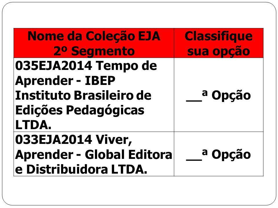 Nome da Coleção EJA 2º Segmento. Classifique sua opção. 035EJA2014 Tempo de Aprender - IBEP Instituto Brasileiro de Edições Pedagógicas LTDA.