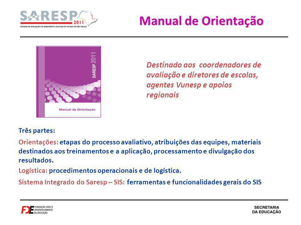 Manual de Orientação Destinado aos coordenadores de avaliação e diretores de escolas, agentes Vunesp e apoios regionais.