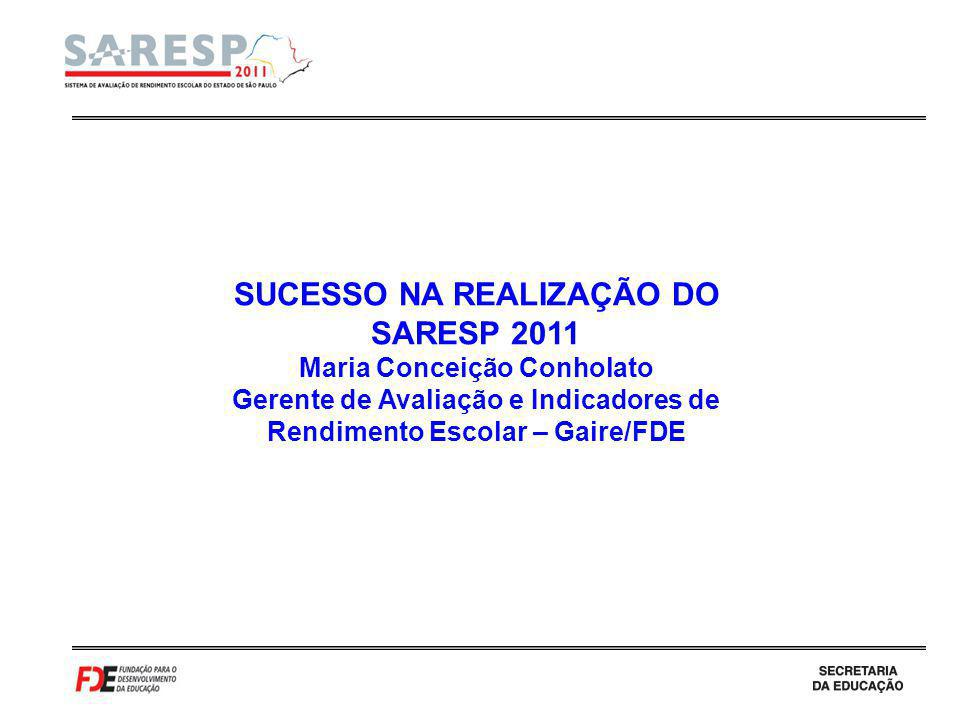 SUCESSO NA REALIZAÇÃO DO SARESP 2011