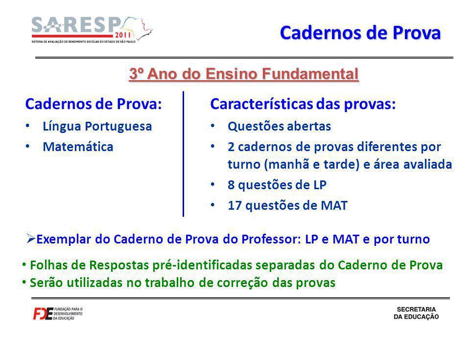 Cadernos de Prova Cadernos de Prova: Características das provas: