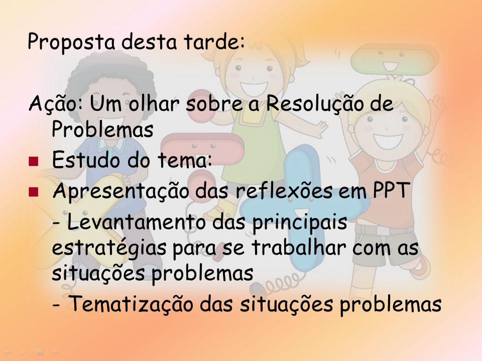 Proposta desta tarde: Ação: Um olhar sobre a Resolução de Problemas. Estudo do tema: Apresentação das reflexões em PPT.