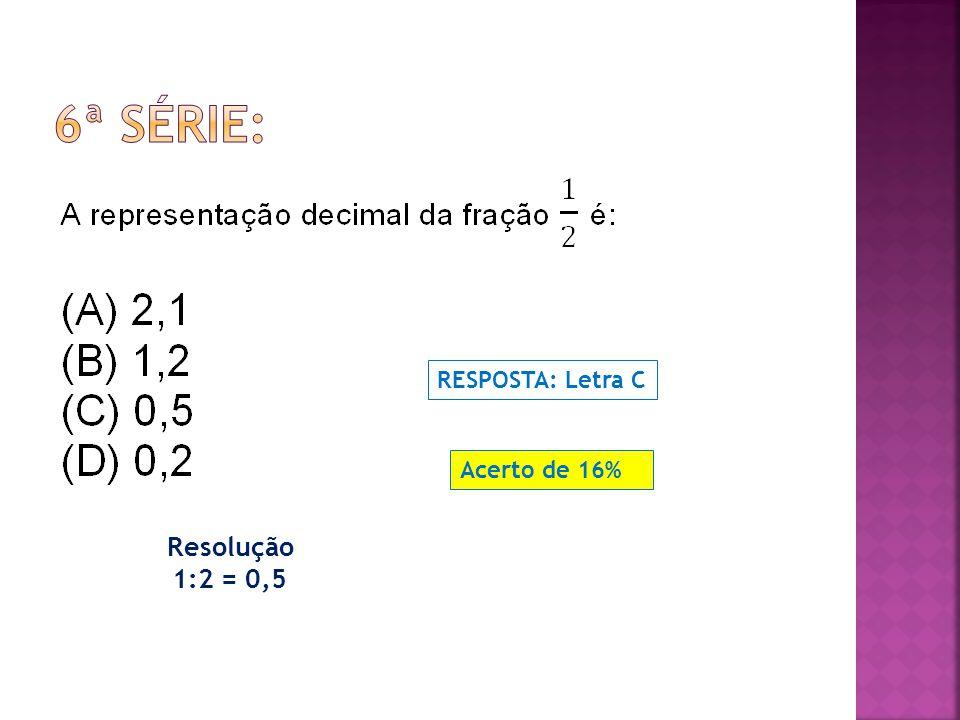 6ª SÉRIE: RESPOSTA: Letra C Acerto de 16% Resolução 1:2 = 0,5