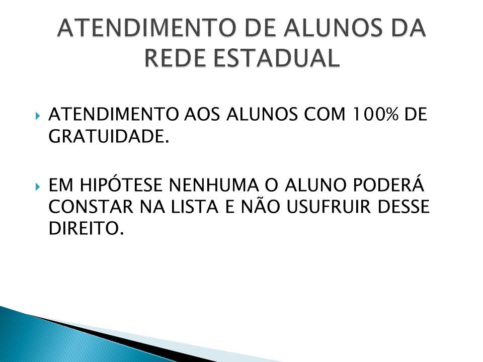 ATENDIMENTO DE ALUNOS DA REDE ESTADUAL