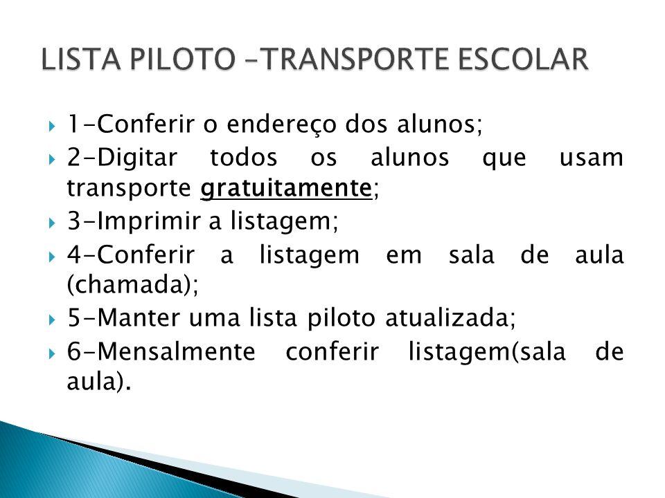 LISTA PILOTO –TRANSPORTE ESCOLAR