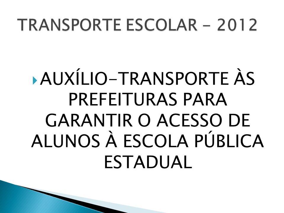 TRANSPORTE ESCOLAR - 2012 AUXÍLIO-TRANSPORTE ÀS PREFEITURAS PARA GARANTIR O ACESSO DE ALUNOS À ESCOLA PÚBLICA ESTADUAL.