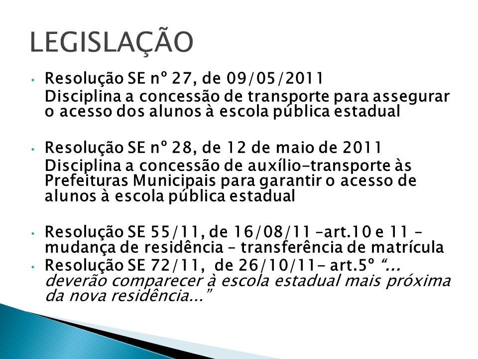 LEGISLAÇÃO Resolução SE nº 27, de 09/05/2011