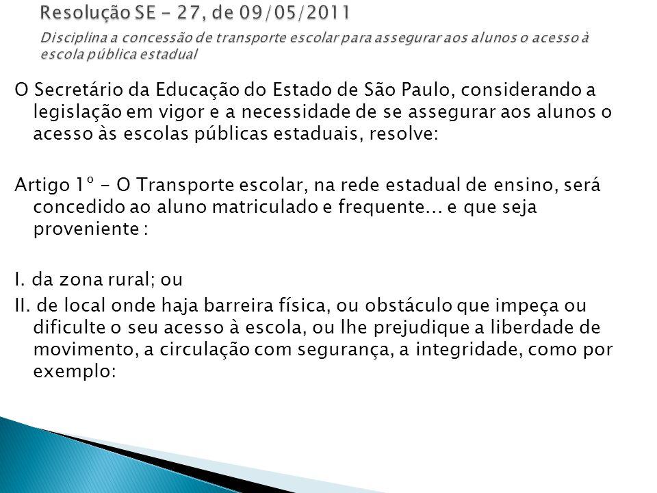 Resolução SE - 27, de 09/05/2011 Disciplina a concessão de transporte escolar para assegurar aos alunos o acesso à escola pública estadual
