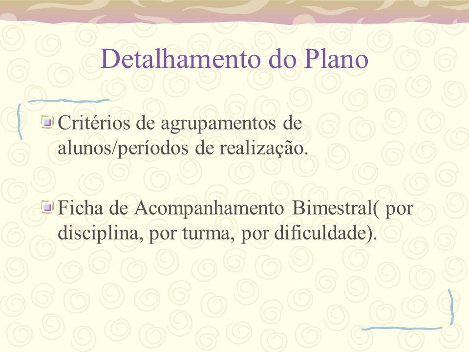 Detalhamento do Plano Critérios de agrupamentos de alunos/períodos de realização.
